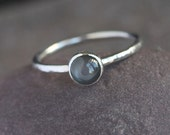 Plumeria - Handmade Black Moonstone and Sterling Silver Ring Hammered Textured