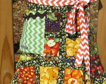 Flirty Garden Market theme half apron - flounce ruffle - Riley Blake Chevron designer fabric  - by Happy Campers of the South (APR158)