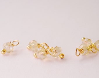 Champagne crystal bead faceted Swarovski  Charms Small dangle beads jewelry supplies