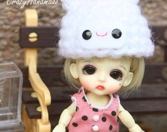 Little cute crochet hat for lati white / pukipuki / felix brownie doll