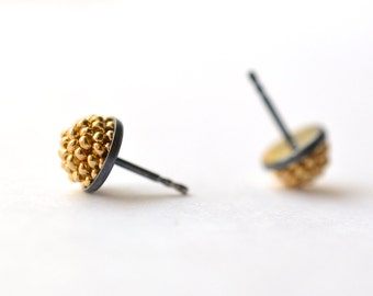 mini black silver ear studs gold plated beads shiny