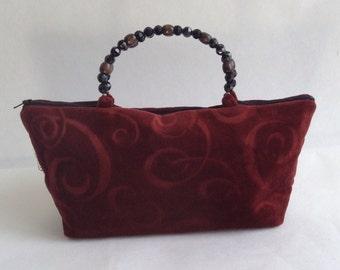 Hand bag, beaded burgundy