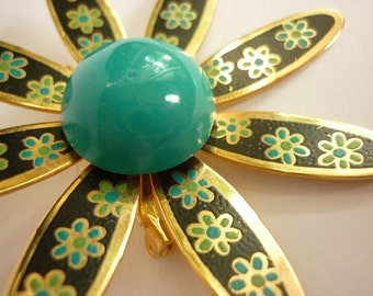 Flower Pin from the Sixties gold tone w turquoise center w black petals