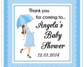 Square Baby Shower labels, Umbrella Baby Shower Labels, Custom Labels, Personalized Stickers, Baby Shower Labels