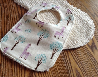 Burp Cloth and Bib Set for Baby, Chenille and Flannel, Sweet Giraffe, Snap Bib, Thick