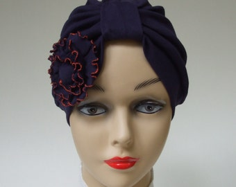 Cotton Turban with Rose, Playful Chemo Headwear, Modesty Headwear, Navy Blue, Women Hair Covering, Snood, Large, XL