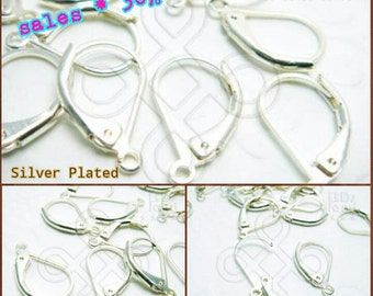 sales -30% / D401SP / 30 Pc / 120 Pc / 14 x 9 mm - Silver Plated Lever Back Ear Wires Findings