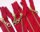 YKK Brass Zippers- Metal Teeth Zipper with fancy donut pull and gold colored teeth- color 519 RED- 5 pcs- Available in 6 and 12 Inch