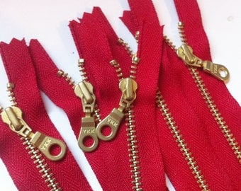 YKK Brass Zippers- Metal Teeth Zipper with fancy donut pull and gold colored teeth- color 519 ...