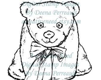 INSTANT DOWNLOAD Digital Stamp Image Stuffed BEAR with Bow