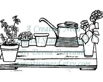 INSTANT DOWNLOAD Garden Pallet, Digital Stamp Image, for Scrapbook, Cards, art journals