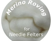 "Merino Roving 16"" WHITE Perfect for Needle Felting, Doll Hair, Animal Fur"