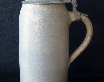 German Salt Glazed Stoneware Beer Stein Liter Pewter Lid
