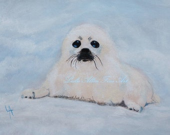 "Seal Painting Seal Art  Animal Painting Nursery Painting Nursery Art Love Sweet Baby Seals ""Sweetest Baby Seal"" Leslie Allen Fine Art"