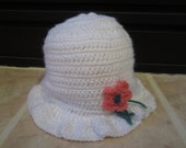Lovely Crochet White Hat For Girls 3-6 Months With Pink Flower
