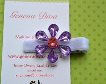 Purple and Pink Rhinestone Flower Clip