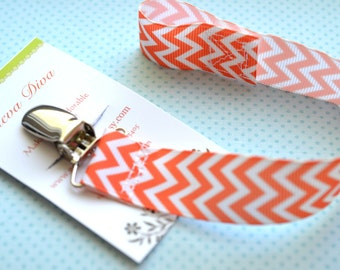 Orange and White Chevron Pacifier Clip