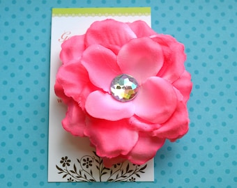 Medium Pink Rose Flower Hairclip