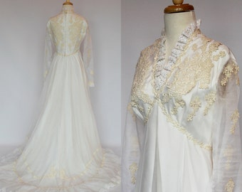 60's / 70's Empire Waist Wedding Gown / Long Sheer Sleeves / Train / Small