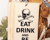 Halloween Tags Handmade Skull Bones Pirate Party Vintage Style Party Favor Treat Bag Tag TH009