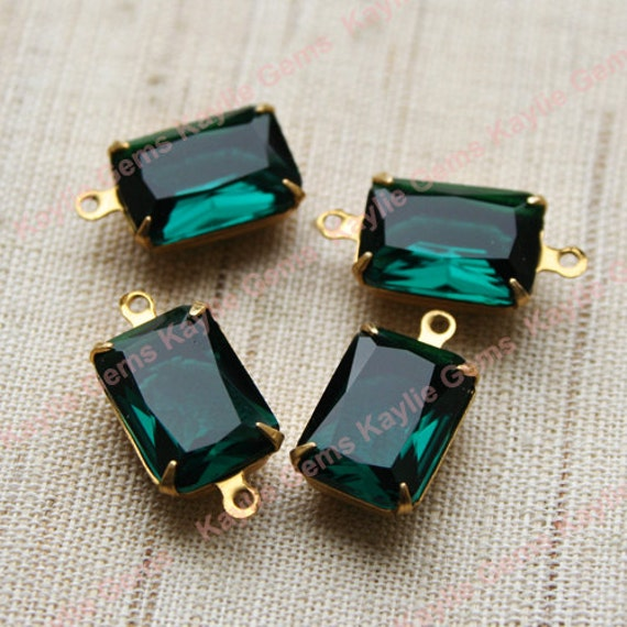 2 Emerald 10x14 Octagon Glass Jewel Set in Raw Brass Prong Setting - 1 Ring / 2 Ring