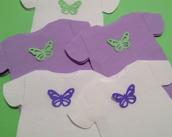 Any quantity, any color, Baby shower shirt shaped or bib shaped napkins.  Each with adorable cut out butterfly.
