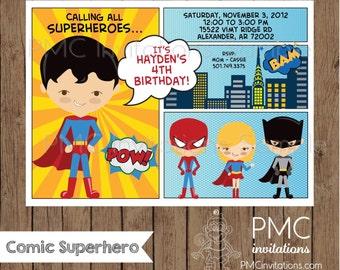 Comic Superhero Birthday Invitations - 1.00 each with envelope