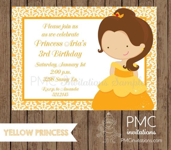 Custom Printed Princess Birthday Invitations - 1.00 each with envelope