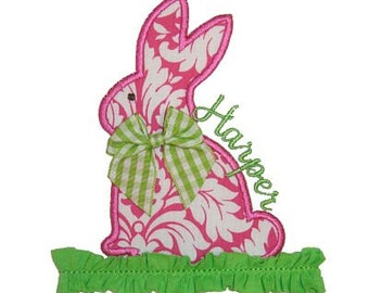 Machine Embroidery Design Applique Bunny with TrimINSTANT DOWNLOAD