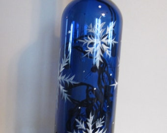 Cobalt  Lighted Bottle With Snowflakes