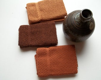 Dish Cloths Knit in Cotton in Lt. Brown Marl, Rusty Brown and Calfskin