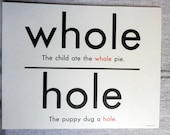 break/brake/whole/hole two sided flash cards