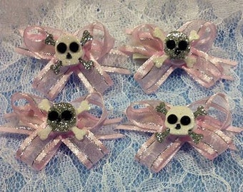 Sheer Pink N Skulls: Snap N Go Dog Hair Bows