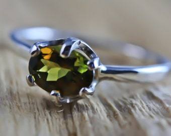 MultiColor Green Yellow Pink Tourmaline Ring- Wire Wrapped Engagement / Wedding Ring - Unique Original Design by Philip Crow