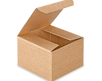 10 Kraft Pinstripe Gift Boxes . 3x3x2