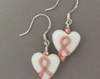 Pink Ribbon Heart Earrings, Breast Cancer Awareness, Handmade by Harleypaws