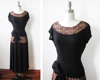 1940s dress, 40s black dress, vintage 1940s cocktail dress, small