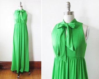 70s green maxi dress, vintage 1970s disco dress, grecian goddess dress with bolero shrug and ascot bow small medium