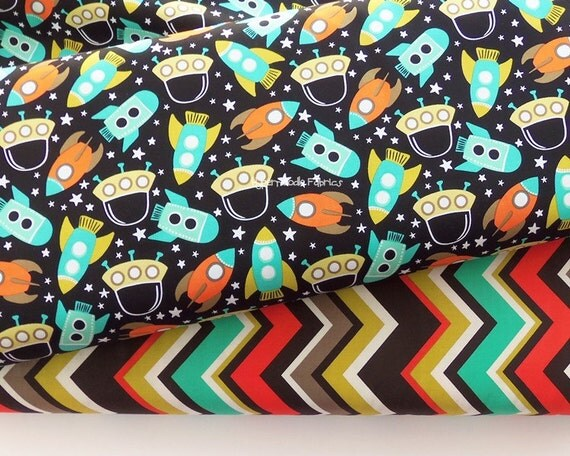 Michael miller fabric duo space station retro by hypernoodle2 for Vintage space fabric