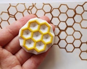 beehive stamp. honey comb stamp. geometric hexagon hand carved rubber stamp. birthday scrapbooking. gift wrapping. handmade by talktothesun