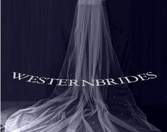 IVORY , White or Diamond white 2 tier Cathedral veil with Swarovski crystals