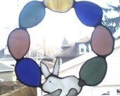 Stained Glass Easter Egg Wreath Spring Wreath Bunny Wreath