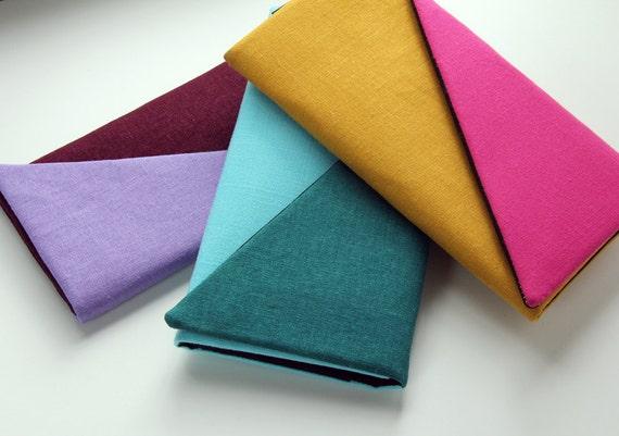 The KATIE Clutch Wallet - Linen Wallet, Ladies Wallet, Color Block Clutch, Pink and Teal Wallet, Pink and Green Clutch, Custom Wallet