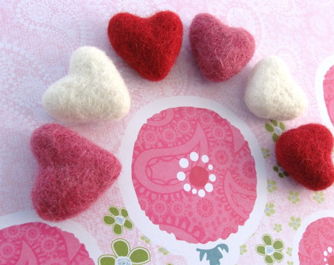 Featured listing image: Felt Pink, Red and Ivory Heart - 6 Pure Wool Beads 30mm