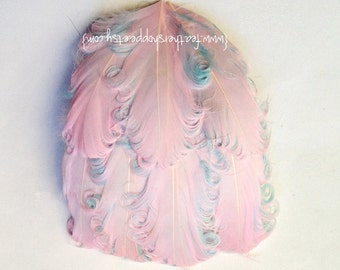 Light Cotton Candy Nagorie Curled Goose Feather Pad - Pink and Aqua
