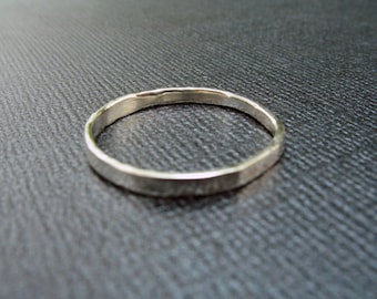 Argentium Silver Small Tiny Thin Skinny Hammered Minimalist Stacking Ring