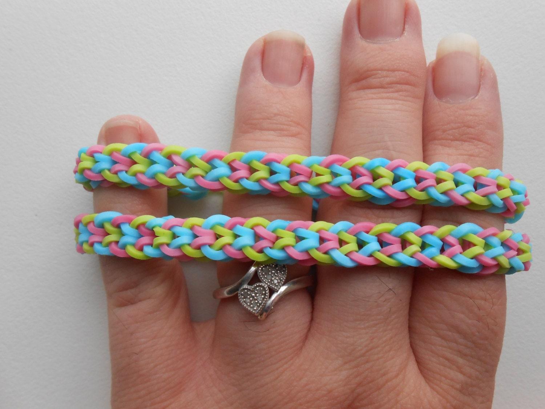 rainbow loom monster tail inverted fishtail bracelet set of