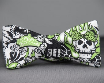 Rocker  Bow tie in Green, Black and White