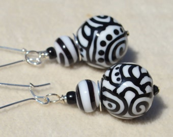 CIAO-Handmade Lampwork and Sterling Silver Earrings