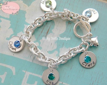 Personalized Hand Stamped Mother's Bracelet with Name Discs and Drop-Style Swarovski Birthstones